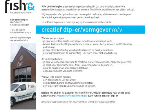 Wij zoeken nieuwe collega's! > creatief dtp-er/vormgever m/v 24 uur